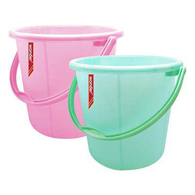 Wonder Plastic Bucket Set, Frosty for Home/Kitchen/Office, Set of 2 Pc, 30 Ltrs, Pink & Green Color, Made in India