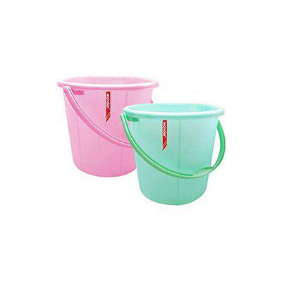 Wonder Plastic Bucket Set, Frosty for Home/Kitchen/Office, Set of 2 Pc, 6 Ltrs, Pink & Green Color, Made in India