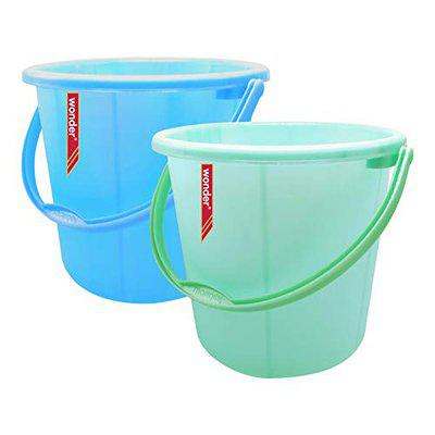 Wonder Plastic Bucket Set, Frosty for Home/Kitchen/Office, Set of 2 Pc, 30 Ltrs, Blue & Green Color, Made in India