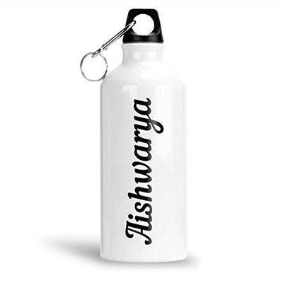 FurnishFantasy Aluminium White Sipper Bottle 600 ml - Best Gift for Happy Birthday, Return Gift, Name - Aishwarya