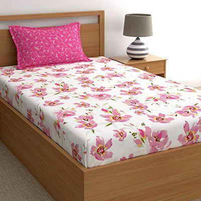 Home Ecstasy 100% Cotton bedsheets for Single Bed Cotton, 140tc Floral Pink Single bedsheet with Pillow Cover (4.8ft x 7.3ft)