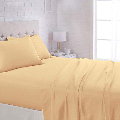 OPTIMA Lightweight Super Soft Easy Care Cotton Bed Sheet Set with 2 Pillow Cover - Queen, *Light Yellow*