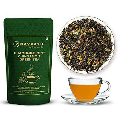 Navvayd Chamomile Mint Cinnamon Green Tea, with Natural Products for Better Sleep, Anxiety Relief, Anti Inflamatory Properties, Loose Leaf - Enjoy Hot or Cold, (50 Gm, 25 Cups)
