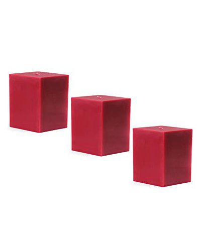 American-Elm 3 pcs Unscented 2x2x2 Inch Red Square Pillar Candle, Hand Poured Premium Wax Candles for Home Decor