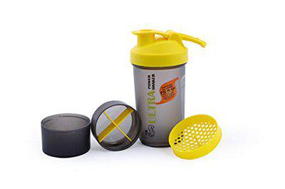 ORENAME Ultra BPA Free Gym Sippers & Shakers Bottle Protein Shake Sports Sipper Water Bottle with Supplement Storage Detachable Compartments for Men & Women(Yellow)