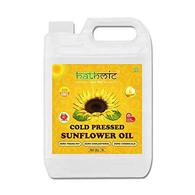 Hathmic Cold Pressed Sunflower Oil, 5 Liter HDPE Can