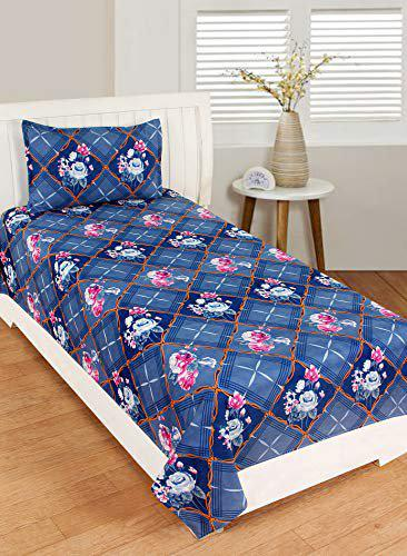 RD TREND Cotton 3D Printed 210 TC Single Bed Sheet(Size-90 inch x 60 inch) with Pillow Cover(Size-18 inch X 28 inch) (Blue)