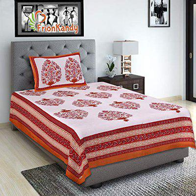 FrionKandy Paisley Print Cotton Orange Single Bedsheet with One Pillow Cover (90 x 60 Inch)