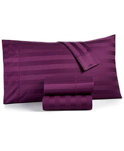 Urban Space - Regal 220 TC 100% Organic Satin Cotton Double Bedsheet with 2 Pillow Covers, Satin Stripes (Wine, Pillow Covers 18'' x 28'')