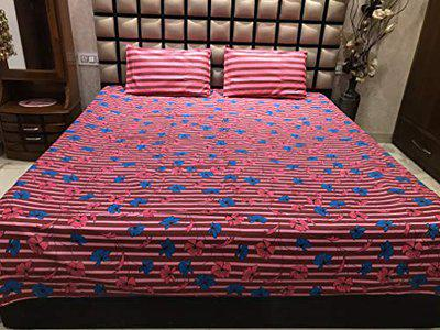 MH Mittal Handlooms 144 TC 100% Cotton Double Bedsheet with 2 Pillow Covers (Pink panipat bedsheets)