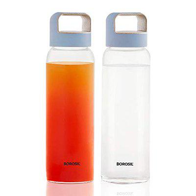 Borosil Crysto Borosilicate Glass Water Bottle, Husk Blue Lid, Wide Mouth, 750 ml, Set of 2 - for Fridge and Office