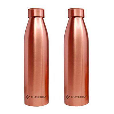 DUVERRA Pure Copper Water Bottle 1 Litre with Leak Proof Cap, Joint Free 1000 ml Bottle for Ayurvedic Health Benefits Best for School, Office, Sports, and Yoga Pack of 2