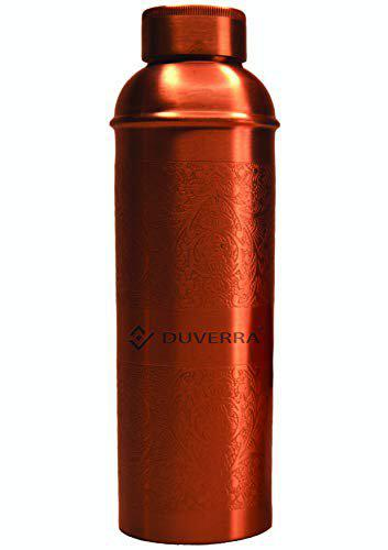 DUVERRA Pure Copper Water Bottle Engraved & Antique Design 850 ml with Leak Proof Cap, Joint Free Bottle for Ayurvedic Health Benefits Best for School, Office, Sports, and Yoga