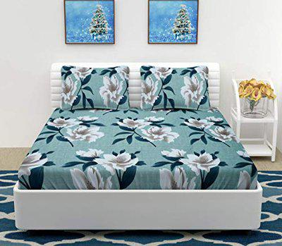 Divine Homes Premium Microfiber Double Bed Sheet with 2 Large Size Pillow Covers; 90x100 inches; Light Blue