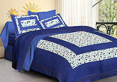 Modern Fab Jaipuri Print Cotton Rajasthani Tradition Double Bedsheet with 2 Pillow Covers