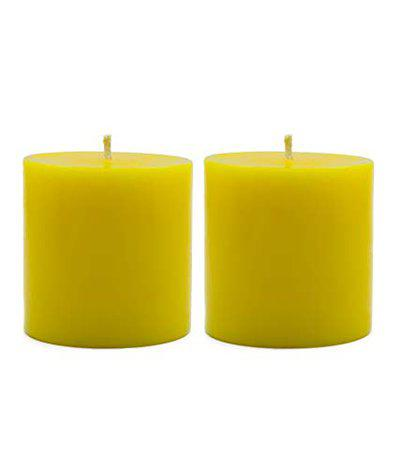 American-Elm Pack of 2 Scented Sandal Wood Aroma Pillar Candle for, Home Decoration, Dinner, Diwali, Brithday Party (2.5x2.5 Inch)