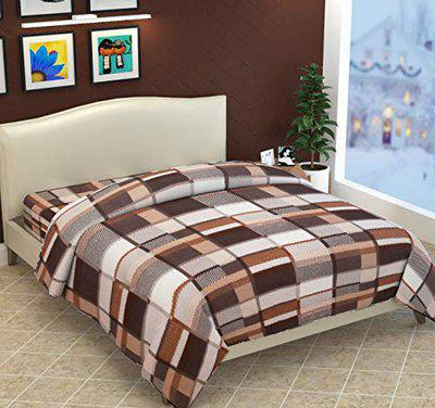 Fabture Warm Razai Cover Double Bed with Zipper (Quilt Cover Double Bed with Zipper)(Double Bed Dohar Blanket)(Brown Check)