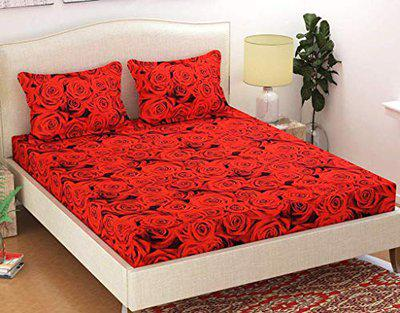 Friends Hub Home Printed Glace Cotton Double Bedsheet with 2 Pillow Covers (Rose Red)