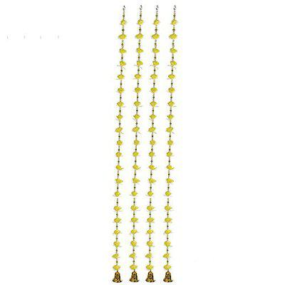 Qtsy Handmade Artificial Flower & PReals Garland/Toran for & Office for Festival Flower Decoration Set of 2 Traditional Bandarwal for Door, 48 inch (Yellow)
