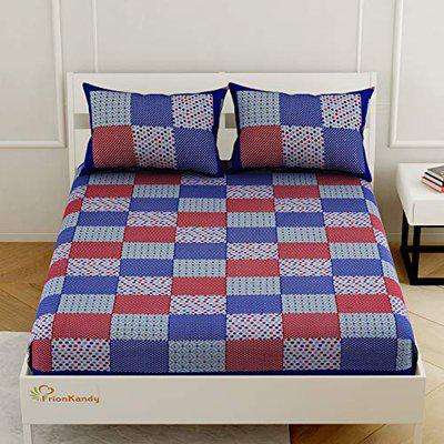 FrionKandy Cotton 240 TC Queen (70x100) Bed Sheet with 2 Pilllow Covers (Blue)