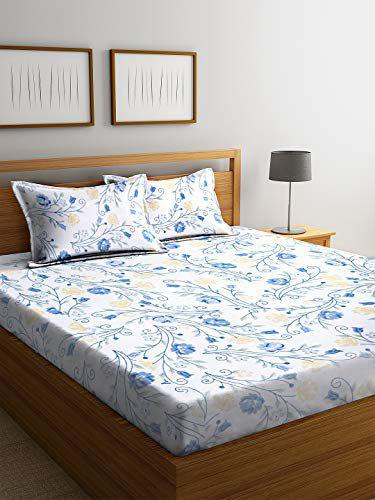 SWHF Chic Home Printed Soft Cotton, 180 Thread Count Double Bed Sheet (220 X 240 cm) with 2 Pillow Covers (41 X 63 cm)   Premium Fabric   I Machine Washable I Modern Print   (Blue-1)