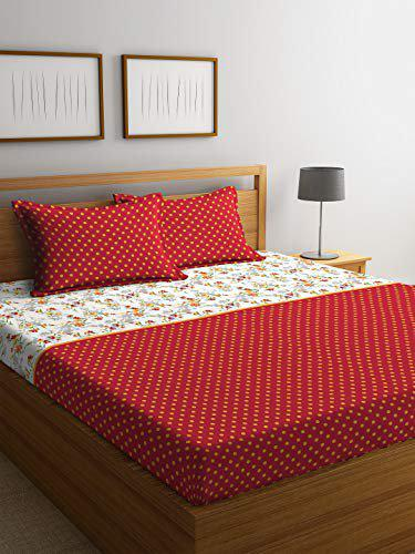 Portico New York Charlotte 1 Super King Bedsheet with 2 Pillow Covers - Multicolour