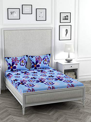 Stellar Home May Flower 1 Double Bedsheet with 2 Pillow Covers - Multicolour