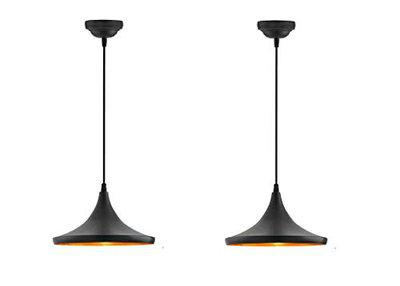 Groeien E26/E27 Antique Single Head Metal Danish (Tawa) Shade Pendant and Vintage Hanging Ceiling Light for Home, Bedroom, Hall Jhumar Lighting, Indoor Outdoor Set - Black (Pack of 2)