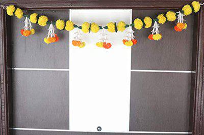 S2S Re- Usable Artificial Marigold Lilly Flowers Door Toran (Marigold Lilly Toran)