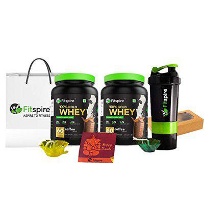 Fitspire Whey Gold 100 Whey Protein Isolate (Coffee, 2 Kg) Combo