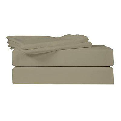 Just Linen 400 TC 100% Egyptian Cotton Sateen, Solid Large King Size Flat Bed Sheet with Pillow Covers