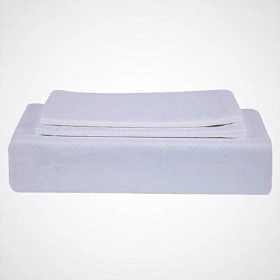 Just Linen 400 TC 100% Egyptian Cotton, Self Damask Design, White Queen Size Flat Bed Sheet with Pillow Covers