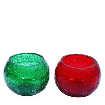 SC Beautiful Crackle Votive Tealight Candle Holder Set of 2 (Size-9 x 9 cm) Red Green