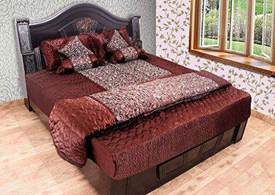 Royal Handicrafts Silk Double Bed King Size Bedding Set Pack of 1 Bedsheet, 2 Pillow Covers, 2 Filled Cushions and Bolsters, 1 AC Comforter (Color- Coffee Brown) (BKTHS131 )