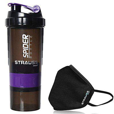 Strauss Spider Shaker Bottle 500ml, (Purple) with Face Protection Mask, Non Vent, Medium, (Black)