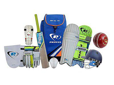 Protos Cricket Kit Full Cricket Gears Full Kit Right Hand Kashmir Willow Bat Cricket Set Complete Accessories in Kit Bag Adjustable Helmet Cricket Batting Pads & Gloves (3 for 5-7 Years Old)