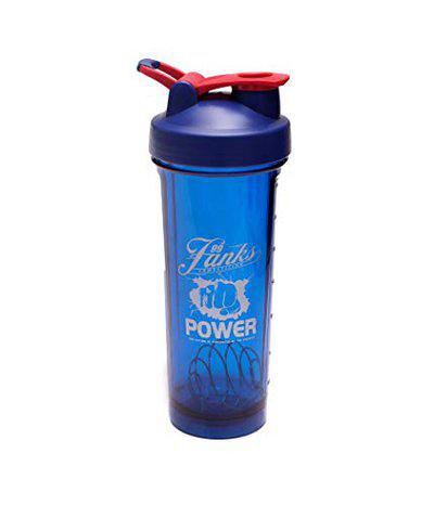 IRIS Protein Shaker Bottle 24oz, Sports Shake Mixer Bottle with Embossed Scales, Leak-Proof Screw-top, BPA Free, Rapid Mixing Design, Gym Water Bottle Mixer for Quick Easy Nutrition Supplement (Blue)