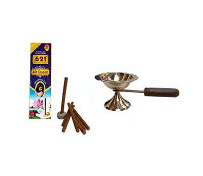 Stylewell Combo of (10 Dry Dhoop Sticks Each Box) Scented fragrances Dry Dhoop Batti Sticks with Oil Ghee Puja (Small Size 1 No) Diya with Long Wooden Handle