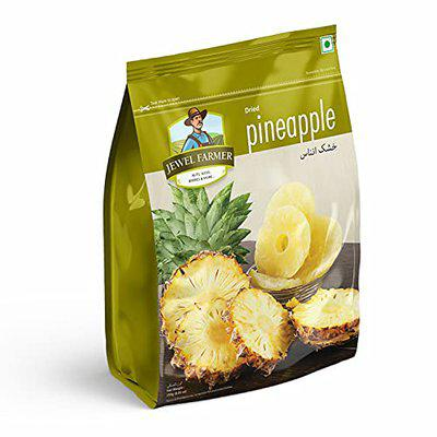 JEWEL FARMER Dried Pineapple Enriched with Vitamin C & Fiber, Unsweetened & Unsulfured Dehydrated Anaanaas Dry Chunks Slices (250g)
