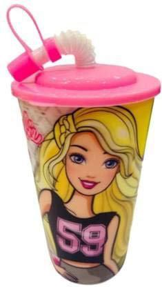 XSOURCE Sipper 3D Glass 3D Look Cartoon Character Sipper Glass with Straw for Kids for Milk Juice Water Soft Drinks (600 Ml) (Barbie)