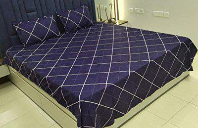 Griiham Cotton 160TC Queen Size Abstract Blue Double Bedsheet with 2 Pillow Covers - BlueAbstract 08