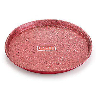 HAZEL Non Stick Pizza Tray Microwave Oven OTG Aluminium Bakeware Round Baking Plate Pan Tawa for 9 Inch Base, Red