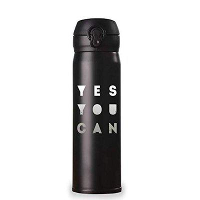 iKraft Insulated Stainless Steel Black Bottle | Easy to Carry Sports Bottle with Engraved Design | Best School Water Bottle for Kids with Easy Push Button 500 ml [Black] (Yes You Can)