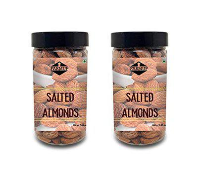 FARMUP Salted Almonds Pack of 2 - 400 gm (200gm x 2)