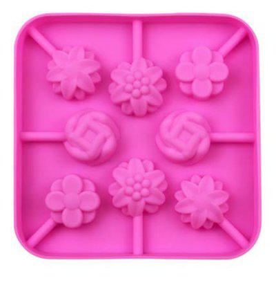 7horse 8 Cavity Fondant Lollipop Molds Flower Shape Chocolate Silicone Mould for Kitchen Baking Tool