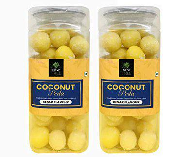 New Tree Coconut Peda II Kesar Flavour II Combo Pack of 2 II Combined Weight 500gm || Assorted Coconut Laddu Candy Pack II