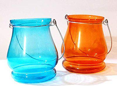 Glass Teardrop Tealight/Candle Holder - Set of 2 Blue, Orange Glass Table Lantern (10 cm X 7.6 cm, Pack of 2) - by Marigold Stores