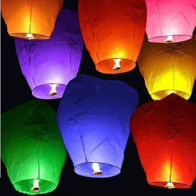 PRINT BHARAT Sky Lanterns Multicolour Wishing Hot Air Balloon/Flying Night Sky Light Candle for Diwali/Christmas/Birthday/All Festival Multicolor,Paper (5)