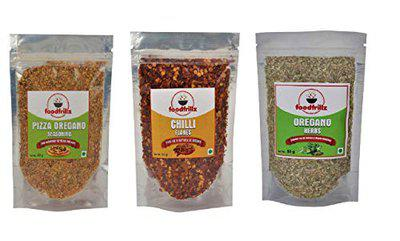 foodfrillz Pizza Seasoning, Oregano Herb & Red Chilly Flakes, 150 g (50 g x 3) Pack of 3