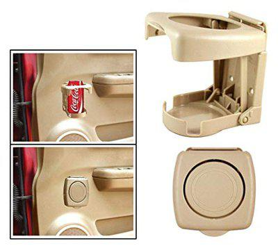 Oshotto Folable Multifunctional Bottle/Cup/Glass/Drink Holder Compatible with Volvo S-90 (Beige) - 1 Piece